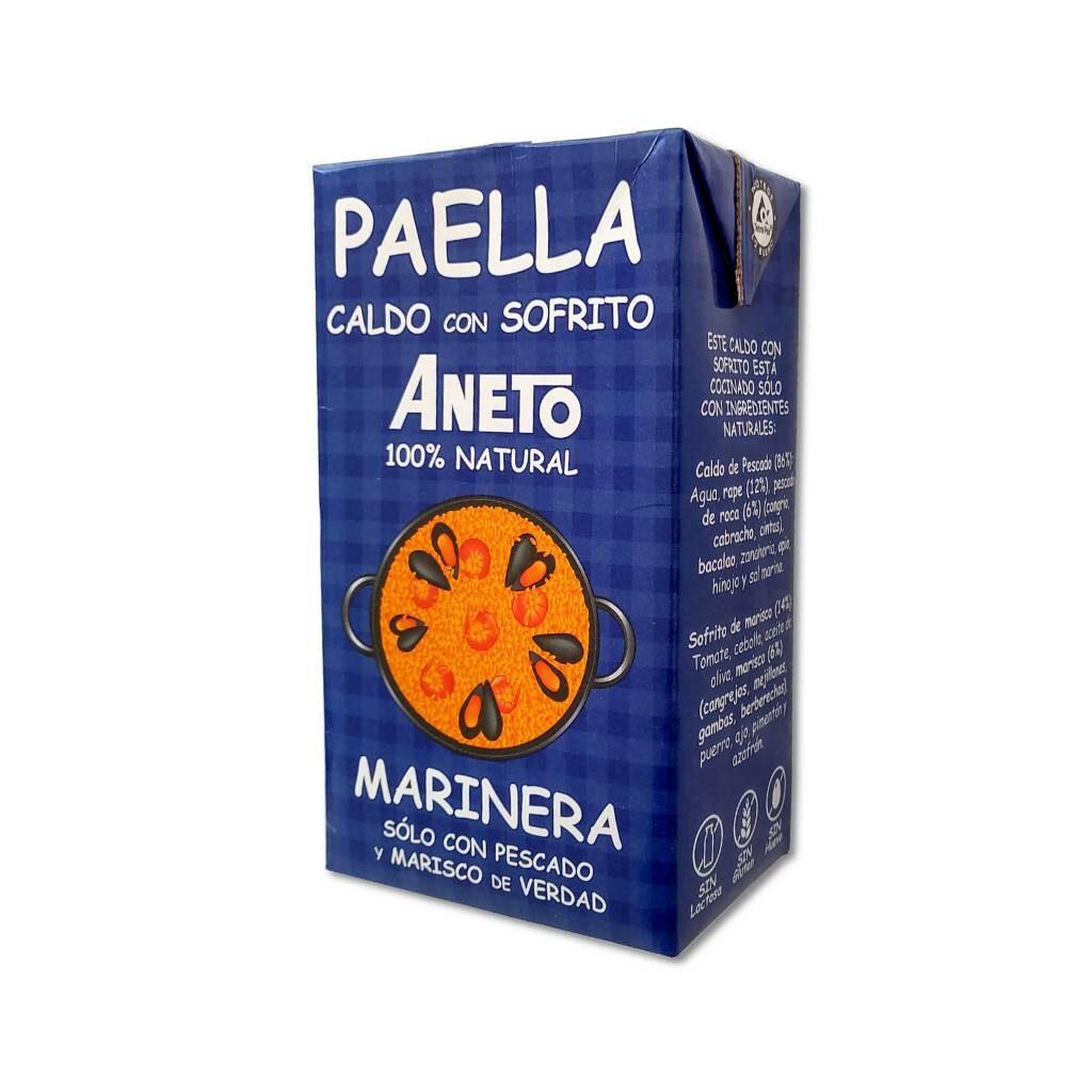 Paella Brühe Meeresfrüchte
